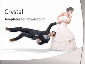Audience pleasing PPT theme consisting of running prize - bride abusing groom isolated backdrop and a white colored foreground