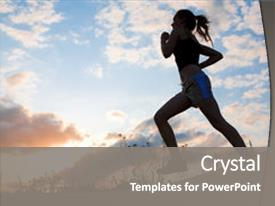 Slide deck with running shoes - silhouette woman run under blue background and a gray colored foreground.