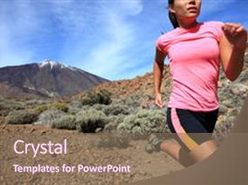 Theme having running woman cross country trail background and a violet colored foreground.