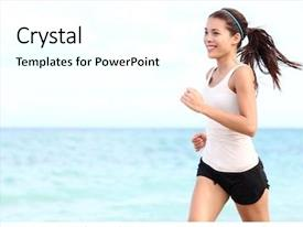 Slide deck featuring running woman female runner jogging background and a white colored foreground