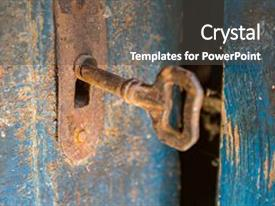 Beautiful slides featuring rusty metal key and keyhole backdrop and a dark gray colored foreground.