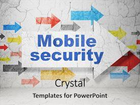 Presentation theme consisting of safety concept arrow with mobile background and a light gray colored foreground