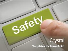 Beautiful PPT theme featuring safety concept businessman fingers press in safety button of a computer keyboard backdrop and a gray colored foreground.