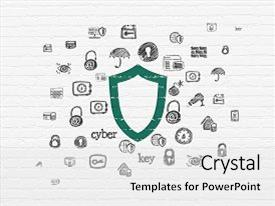 Audience pleasing slide set consisting of safety concept painted green contoured shield icon on white brick wall background with hand drawn security icons backdrop and a light gray colored foreground