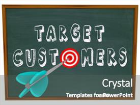 Slides featuring sales training - words target customers written background and a dark gray colored foreground.