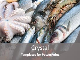 Colorful theme enhanced with saltwater crabs - fresh catch of fish and backdrop and a gray colored foreground