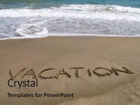 Slide deck with sand in a beach background and a coral colored foreground.