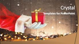 Presentation theme enhanced with santa claus hand holding christmas background and a tawny brown colored foreground
