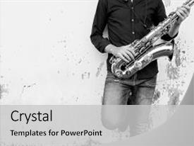 Jazz powerpoint templates ppt themes with jazz backgrounds presentation theme consisting of saxophone symphony musician instrument background and a light gray toneelgroepblik