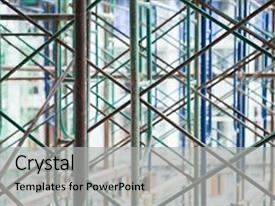 Presentation theme enhanced with scaffold construction scaffoldings abstract scaffold background and a light gray colored foreground.
