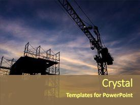 Colorful PPT theme enhanced with scaffolding in the construction backdrop and a tawny brown colored foreground.