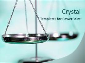 Presentation design consisting of scale of justice with blue background and a cool aqua colored foreground.
