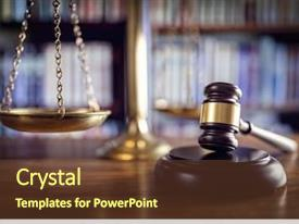 Audience pleasing slide deck consisting of scales of justice and law backdrop and a tawny brown colored foreground