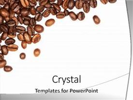 Beautiful presentation theme featuring scattered coffee beans isolated on backdrop and a  colored foreground.