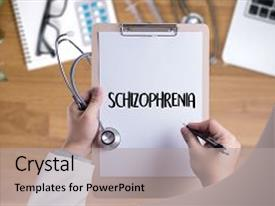 Presentation consisting of schizophrenia and psychotic woman background and a light gray colored foreground.