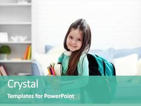 PPT layouts enhanced with school - little girl with green back background and a teal colored foreground