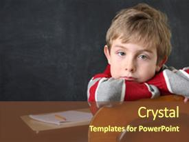 PPT layouts enhanced with school boy - bored student background and a tawny brown colored foreground.