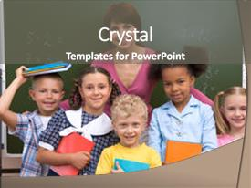 Colorful presentation theme enhanced with school children - line of smart classmates looking backdrop and a gray colored foreground.