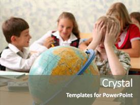 Audience pleasing PPT layouts consisting of school children sitting at classroom backdrop and a gray colored foreground.