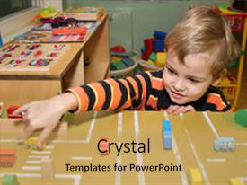 PPT layouts having school days - child play in kindergarten street background and a yellow colored foreground.