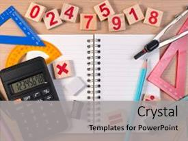 Beautiful slide set featuring school note book for math backdrop and a light gray colored foreground.