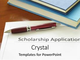 Amazing PPT theme having graduation - school scholarship application form backdrop and a white colored foreground