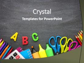 Beautiful theme featuring school supplies on blackboard background backdrop and a  colored foreground.