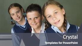 Cool new presentation with school uniforms - portrait of three students two backdrop and a dark gray colored foreground.