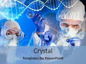 Amazing PPT theme having science chemistry biology medicine backdrop and a light blue colored foreground