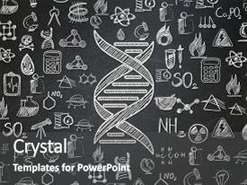 Audience pleasing presentation consisting of science concept chalk white dna icon on school board background with hand drawn science icons school board backdrop and a dark gray colored foreground.