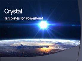 Colorful PPT theme enhanced with science - high resolution planet earth view backdrop and a navy blue colored foreground.