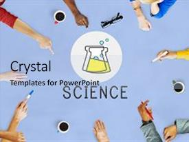Presentation consisting of science lab experiment beaker icon background and a light blue colored foreground.
