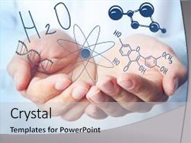 PPT theme having dna - scientist hands with chemical formulas background and a light gray colored foreground.