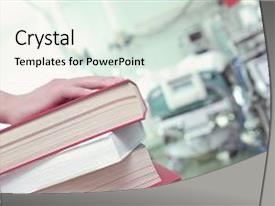 Colorful PPT theme enhanced with nursing theory - scool - stack of book backdrop and a white colored foreground.