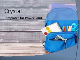 Cool new presentation theme with scribbler - backpack school bag open knapsack backdrop and a  colored foreground.