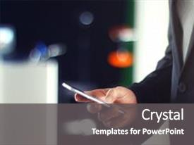 Beautiful slide set featuring scroll - business man using mobile phone backdrop and a dark gray colored foreground.
