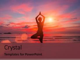 Amazing PPT layouts having sea during sunset yoga backdrop and a tawny brown colored foreground
