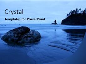 PPT theme with second beach olympic national park background and a light blue colored foreground.