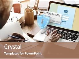 Amazing slide deck having secured access protection online security backdrop and a coral colored foreground