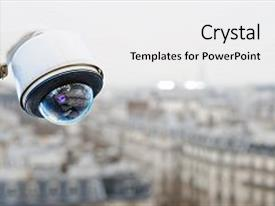 Presentation theme having security camera on a city background and a white colored foreground