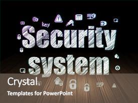 Colorful PPT layouts enhanced with security concept glowing text security backdrop and a gray colored foreground