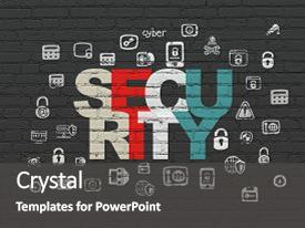 Amazing slide set having security concept painted multicolor text backdrop and a dark gray colored foreground