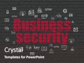 Amazing PPT theme having security concept painted red text business security on black brick wall background with hand drawn security icons backdrop and a dark gray colored foreground