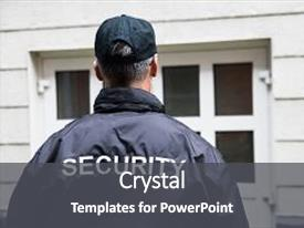 Colorful slide deck enhanced with security guard standing outside building backdrop and a dark gray colored foreground