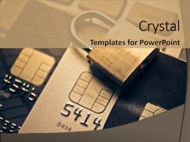 Presentation consisting of fraud - security lock on credit cards background and a coral colored foreground.