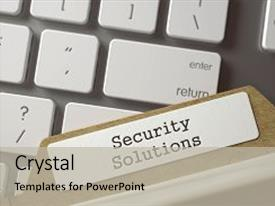 PPT theme featuring security solutions written on file background and a  colored foreground.