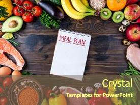 Colorful presentation theme enhanced with selection of healthy food fresh backdrop and a violet colored foreground.