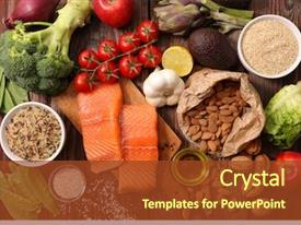 Slide deck having selection of healthy food background and a tawny brown colored foreground