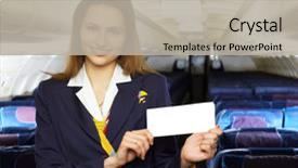 Cool new slide deck with series air hostess stewardess backdrop and a light gray colored foreground.