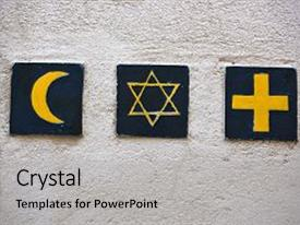 Theme featuring islam - set of 3 religious symbols background and a light gray colored foreground.